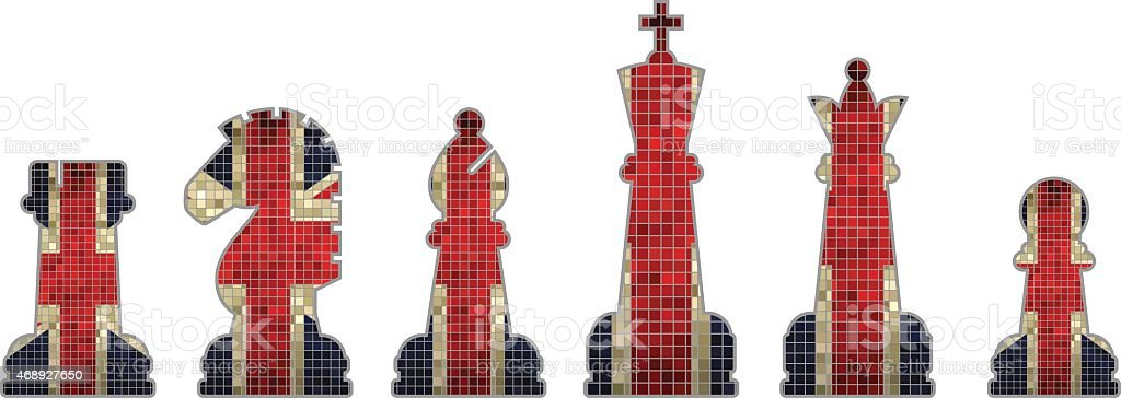 Chess pieces with Great Britain flag vector art illustration