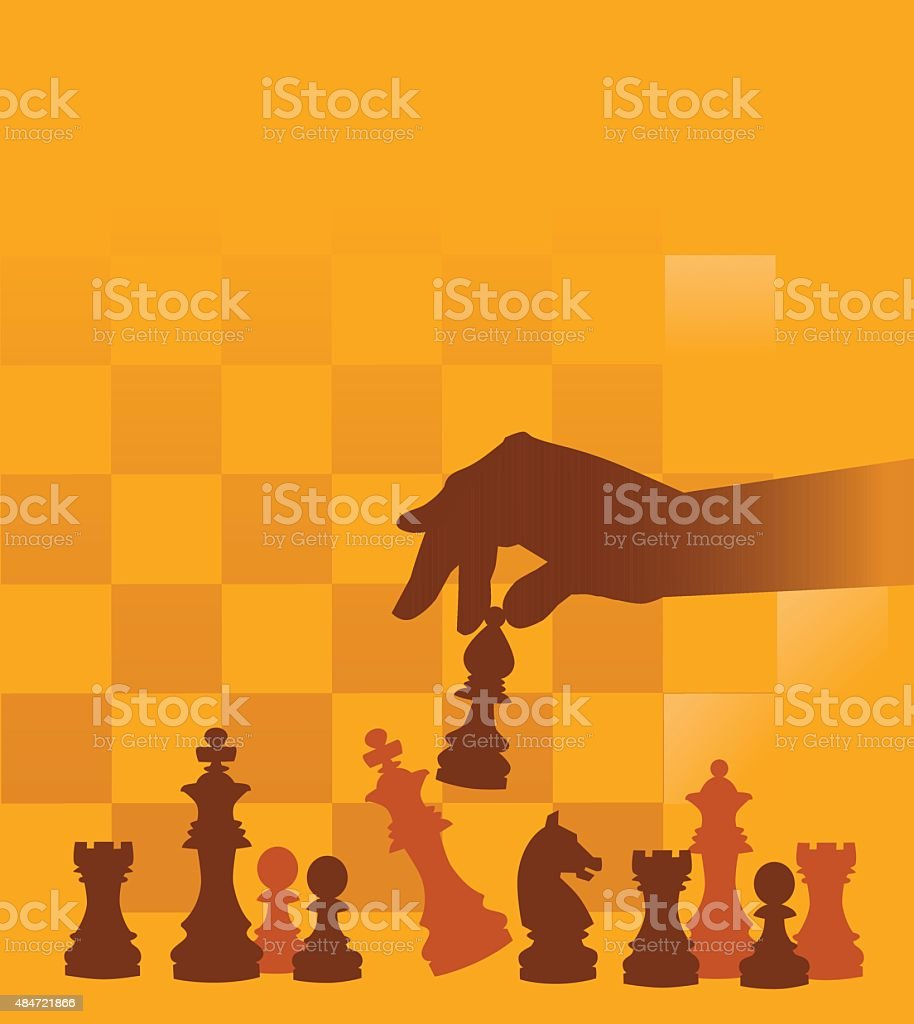 Chess Pieces with Hand on Checked Background vector art illustration