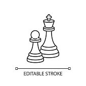 istock Chess pixel perfect linear icon 1257964851