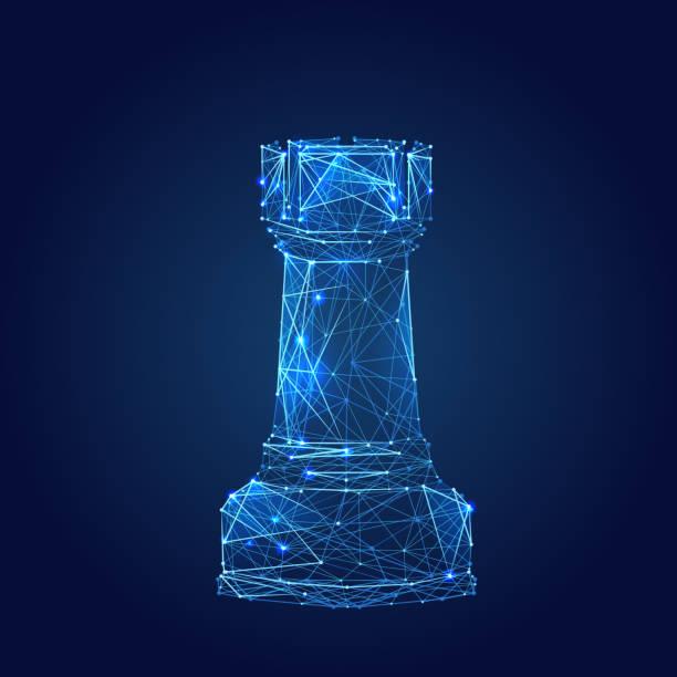 Schach Turm low-Poly blau – Vektorgrafik