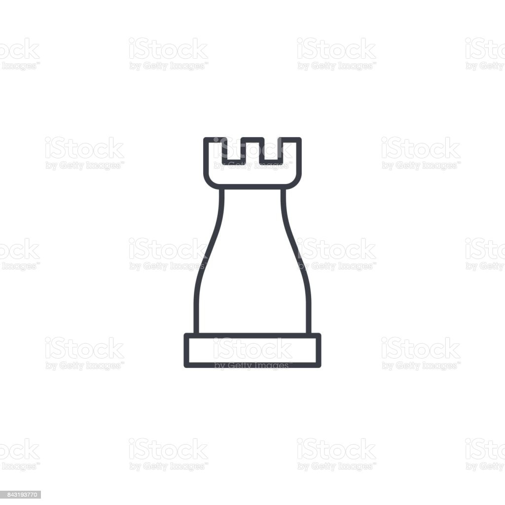 Chess rook, strategy thin line icon. Linear vector symbol vector art illustration