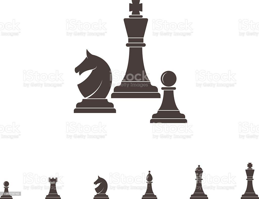 Chess. Silhouette vector art illustration