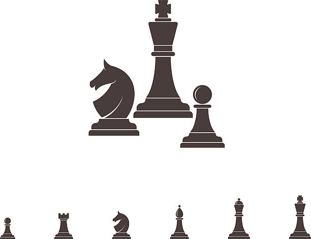 Chess. Silhouette (EPS) + ZIP - alternate file (CDR)  chess knight silhouette stock illustrations