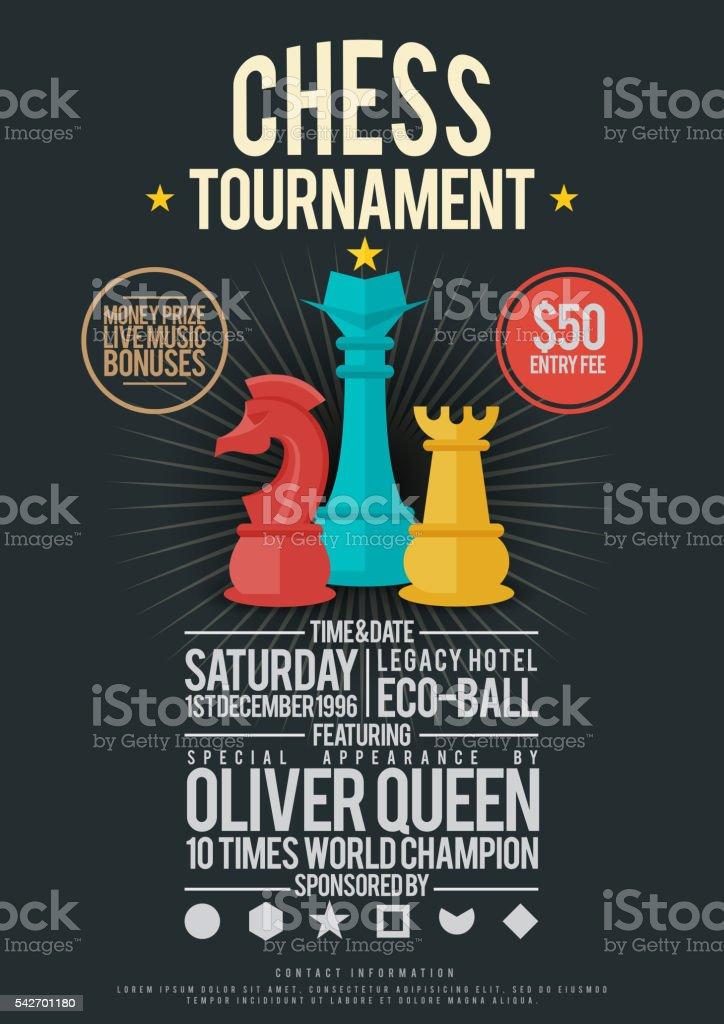 Chess Tournament Poster vector art illustration