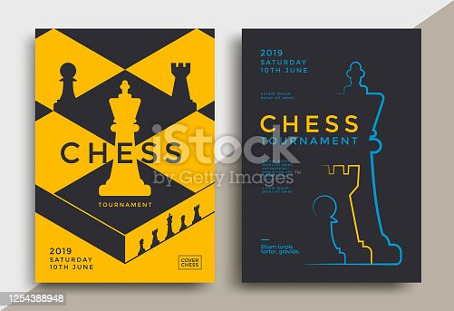 Chess tournament posters set template. Sport game flyer design.