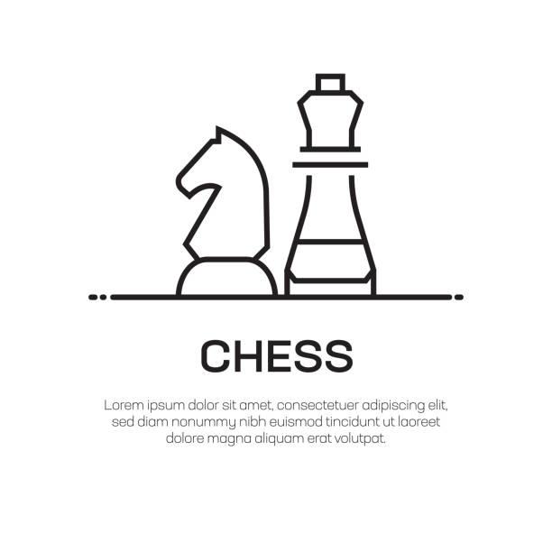 bildbanksillustrationer, clip art samt tecknat material och ikoner med chess vector linje ikon-enkel tunn linje ikon, premium kvalitet design element - häst tävling