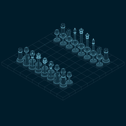 Chessboard wireframe with chess pieces made of blue lines on a dark background. Isometric view. 3D. Vector illustration.