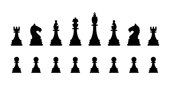 Chessmen collection isolated on a white. Black chess figures. Vector set