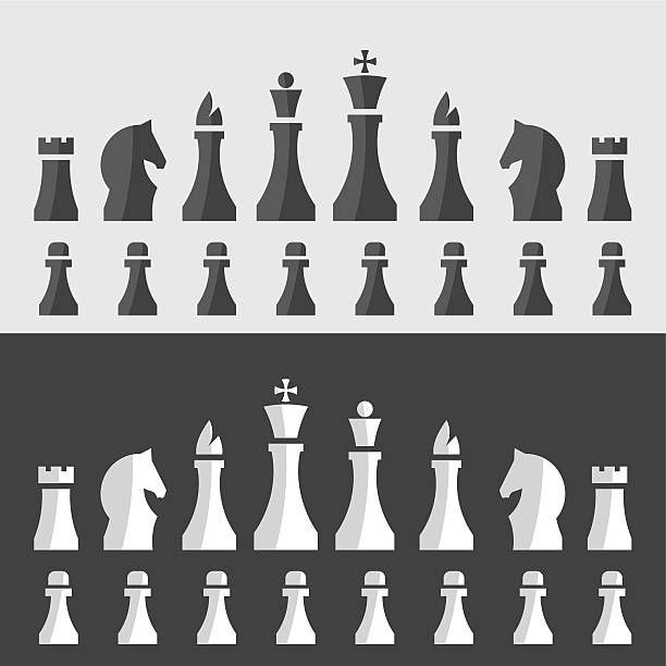 chessmen vector illustration of chess pieces in a minimal style chess knight silhouette stock illustrations