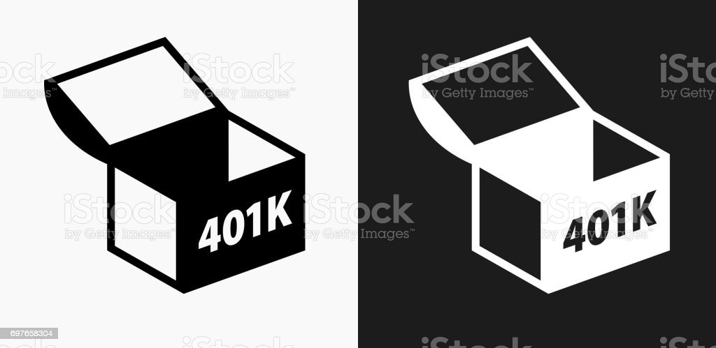 401K Chest Icon on Black and White Vector Backgrounds vector art illustration