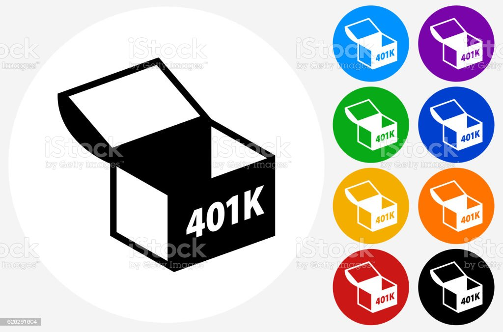 401K Chest Icon on Flat Color Circle Buttons vector art illustration