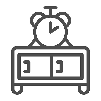 Chest of drawers and clock line icon, Furniture concept, Clock on wooden table sign on white background, nightstand with watch icon in outline style for mobile and web. Vector graphics.