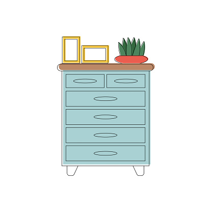 Chest of drawers or nightstand in line art style. A houseplant and books are on the cupboard. Vector