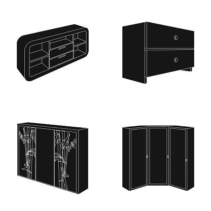 Chest of drawers, wardrobe with mirror, corner cabinet, white chest. Bedroom furniture set collection icons in black style vector symbol stock illustration web.