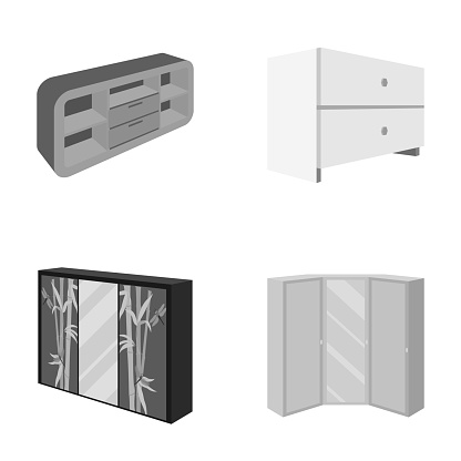 Chest of drawers, wardrobe with mirror, corner cabinet, white chest. Bedroom furniture set collection icons in monocrome style vector symbol stock illustration web.