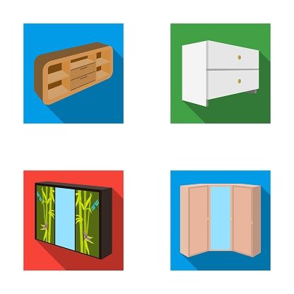 Chest of drawers, wardrobe with mirror, corner cabinet, white chest. Bedroom furniture set collection icons in flat style vector symbol stock illustration web.