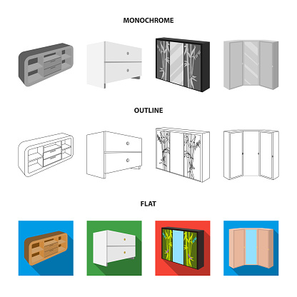 Chest of drawers, wardrobe with mirror, corner cabinet, white chest. Bedroom furniture set collection icons in flat,outline,monochrome style vector symbol stock illustration web.