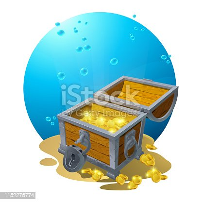 Chest of gold in the sand under the blue clouds - vector illustration for design, banners, flyers, textures, backgrounds, postcards. Vector. EPS10
