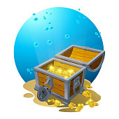 istock Chest of gold in the sand under the blue clouds - vector illustration for design, backgrounds, postcards. Vector 1152275774