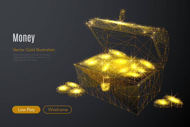 chest of gold low poly gold - dostatek stock illustrations