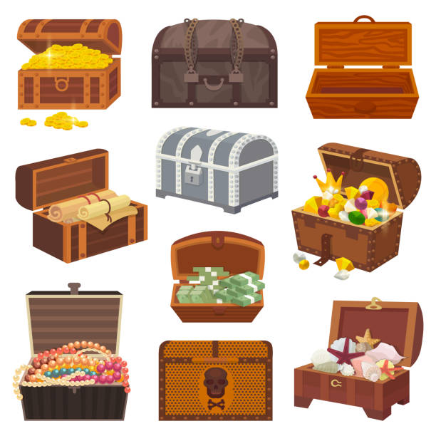 Chest vector treasure box with gold money wealth or wooden pirate chests with golden coins and ancient jewels illustration isolated on white background Chest vector treasure box with gold money wealth or wooden pirate chests with golden coins and ancient jewels illustration isolated on white background. antiquities stock illustrations