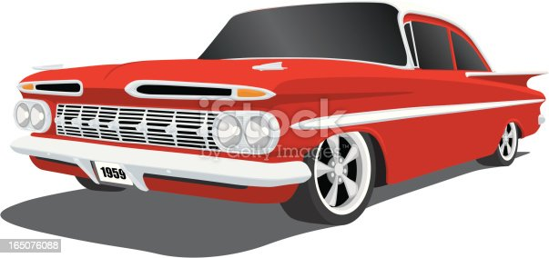 Vector illustration of a classic 1959 Chevy Impala, saved in layers for easy editing.