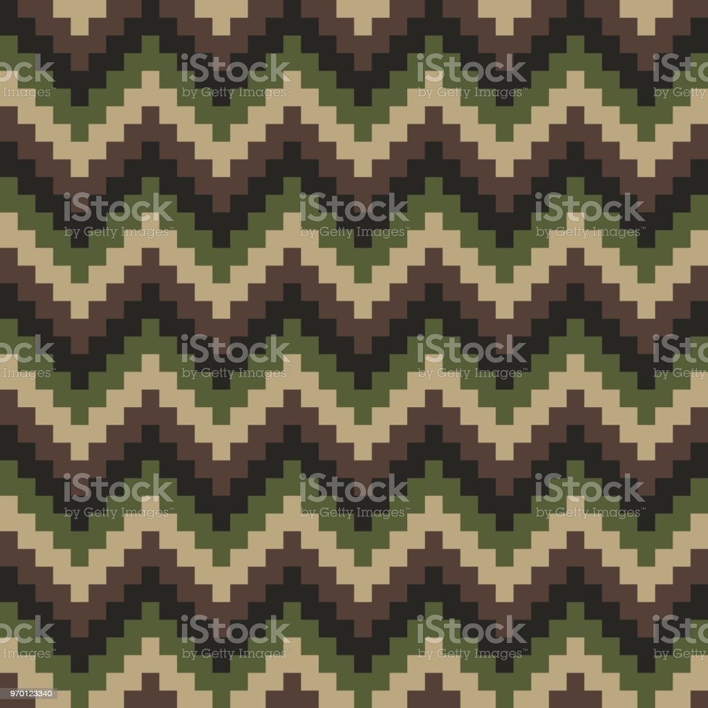 Chevron Camouflage Seamless Pattern. Pixelated Abstract Vector Background vector art illustration