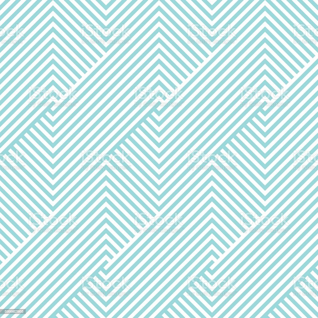Chevron striped pattern seamless green aqua and white colors. vector art illustration