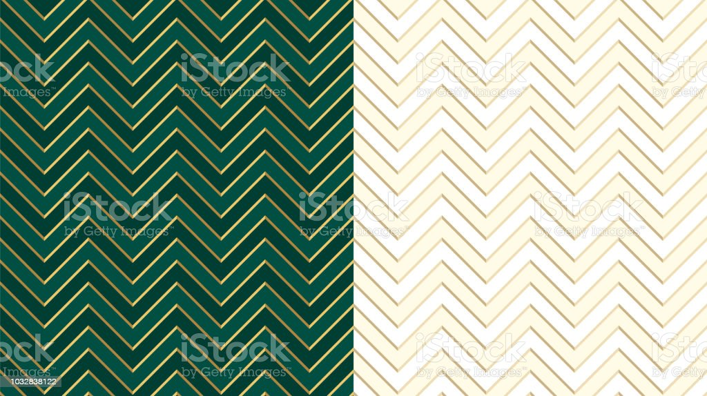 Chevron Zig Zag Emerald Dark Green Seamless Pattern With Golden Lines Cute Ivory