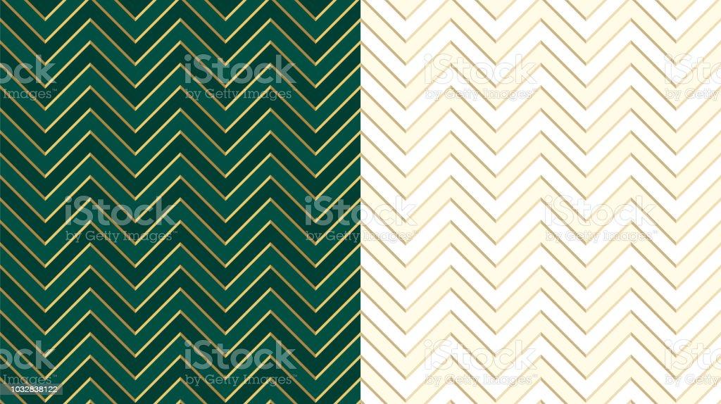 Chevron Zig Zag Emerald Dark Green Seamless Pattern With Golden Lines Cute Ivory