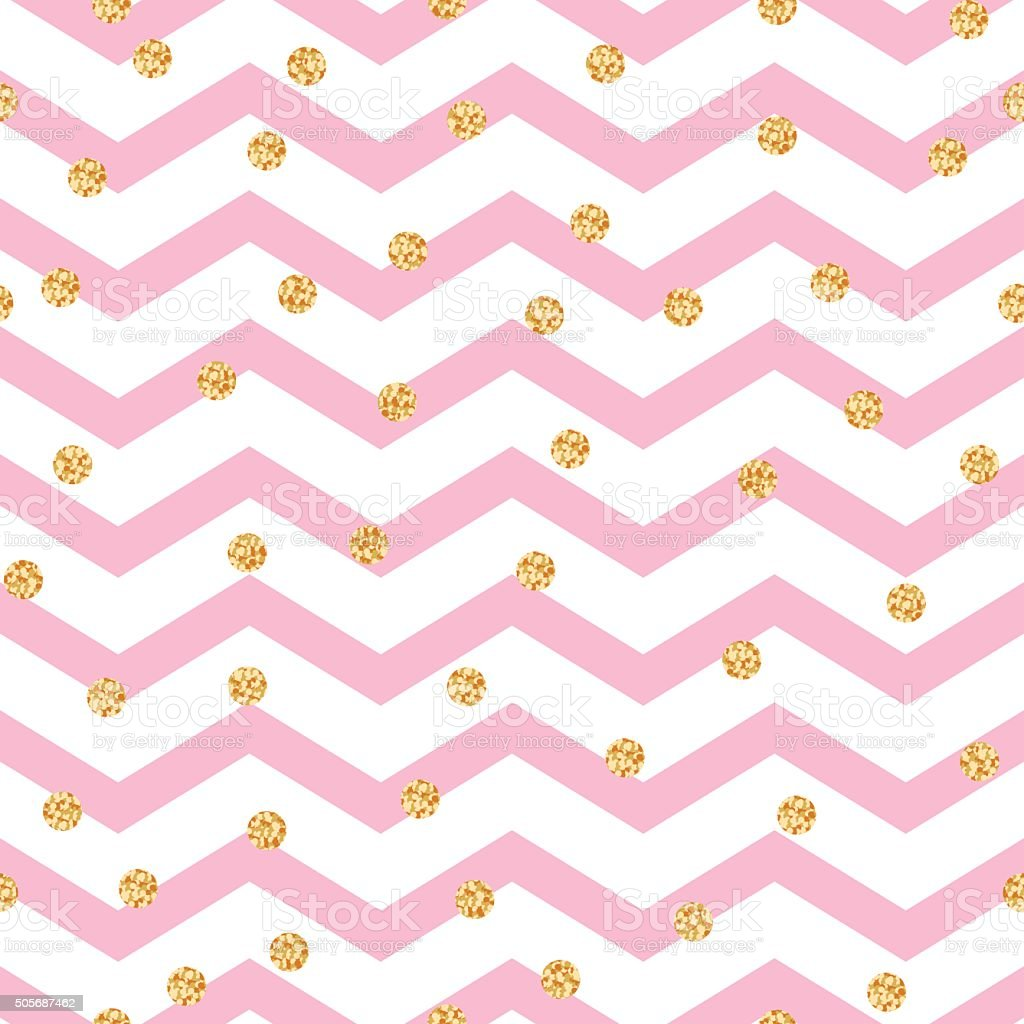 Chevron zigzag pink and white seamless pattern with golden shimmer vector art illustration