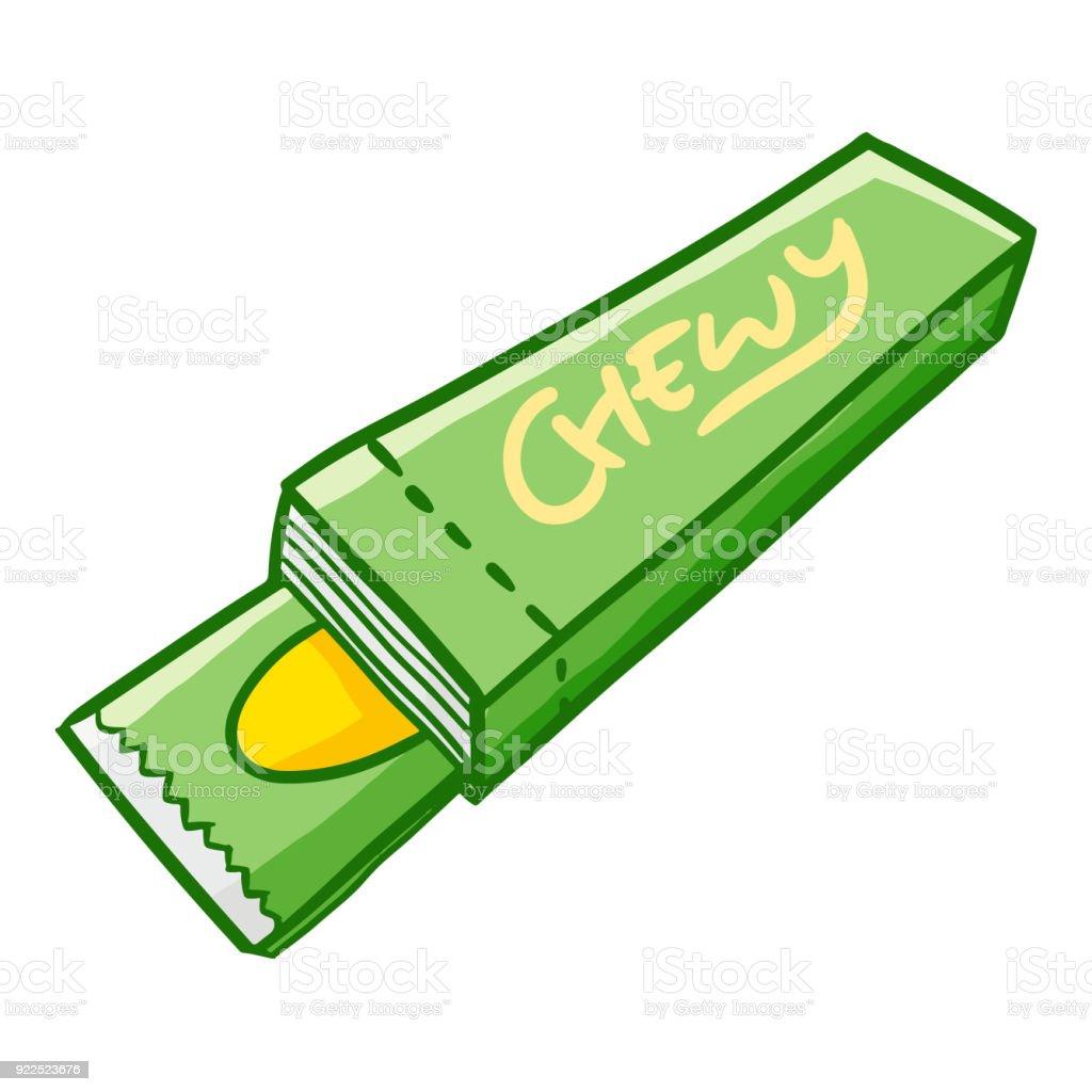 Chew gum ready to eat vector art illustration
