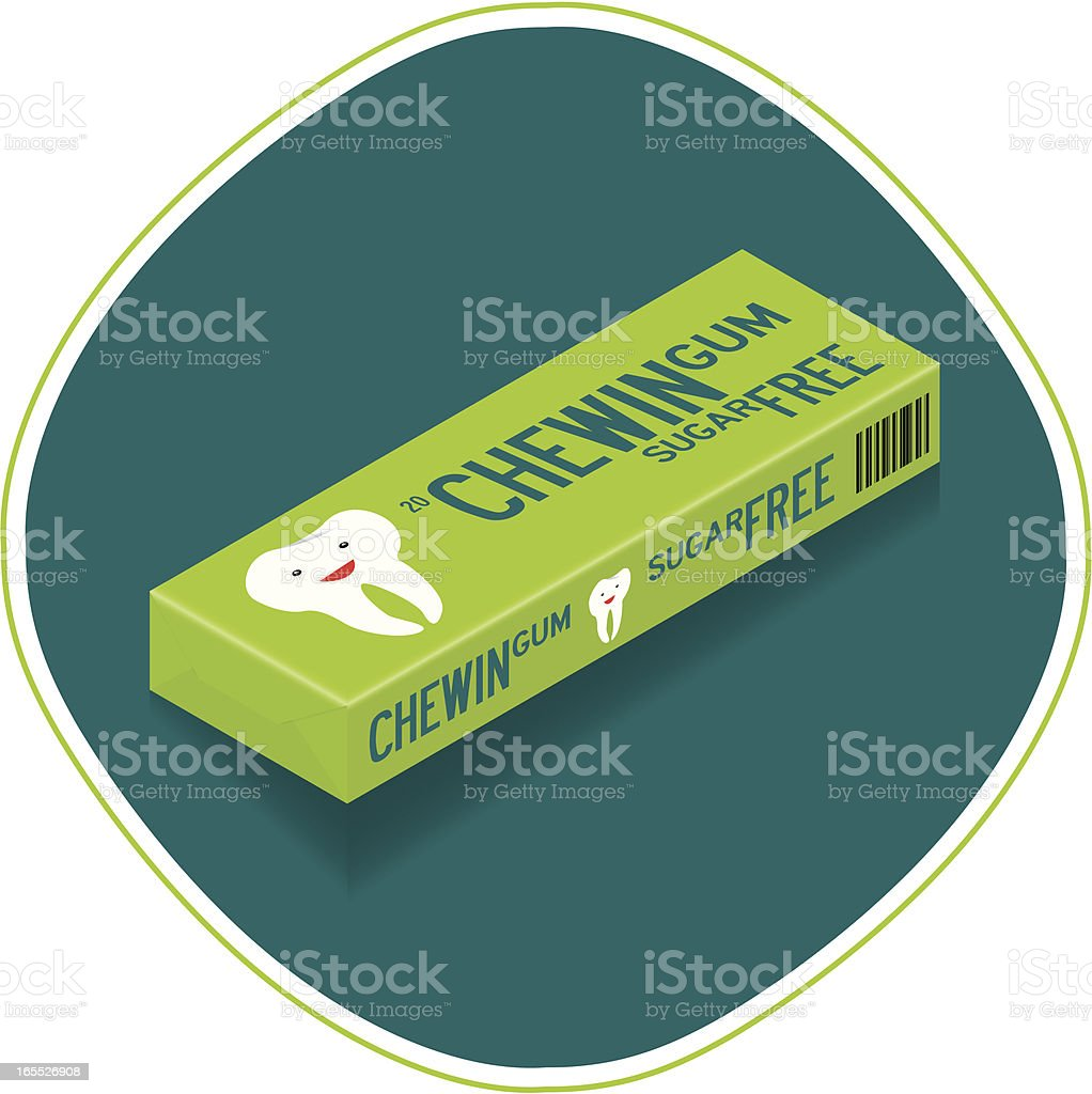 Chewing gum pack of 20 pieces vector art illustration