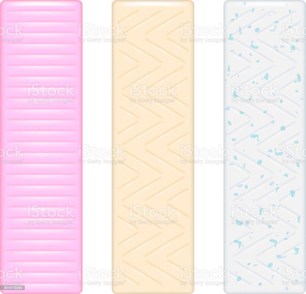 Chewing gum sticks set. Bubble gum vector vector art illustration