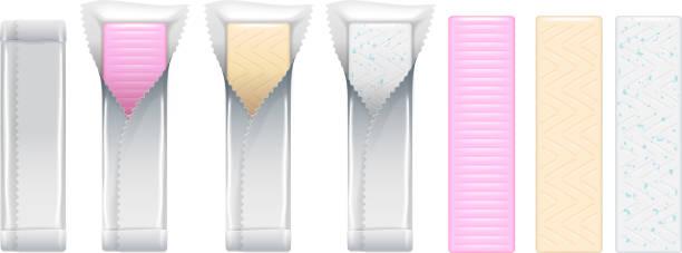 stockillustraties, clipart, cartoons en iconen met kauwgom stokken set. bubble gum vector - kauwgomachtig