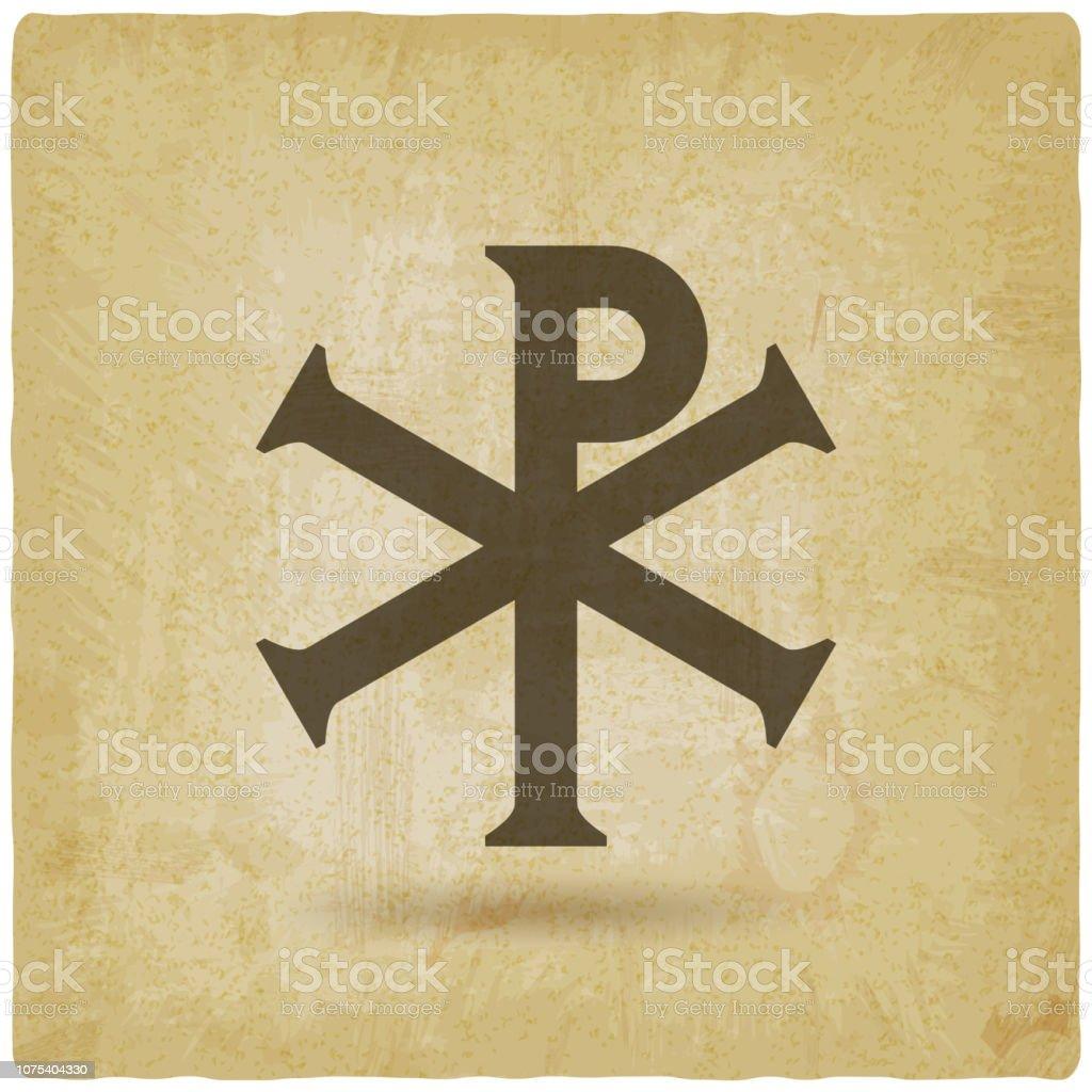 Chi Rho Christian symbol vintage background