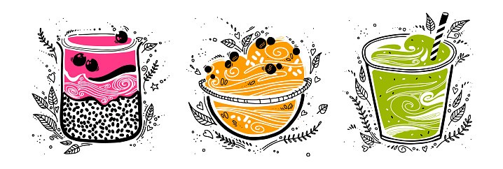 Chia pudding, granola, smoothie in doodle style on white background. cute stylized vector illustration with organic breakfast superfood. healthy food.