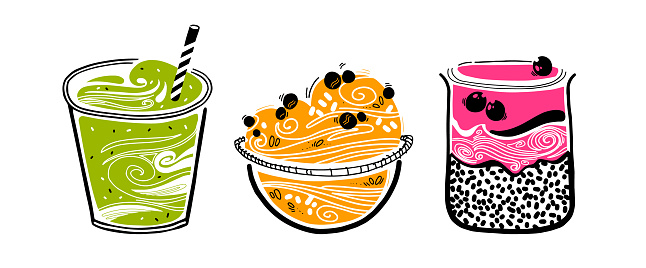 Chia pudding, granola, smoothie in doodle style on white background. hipsters healthy food concept. cooking options. vector sketch with superfood.