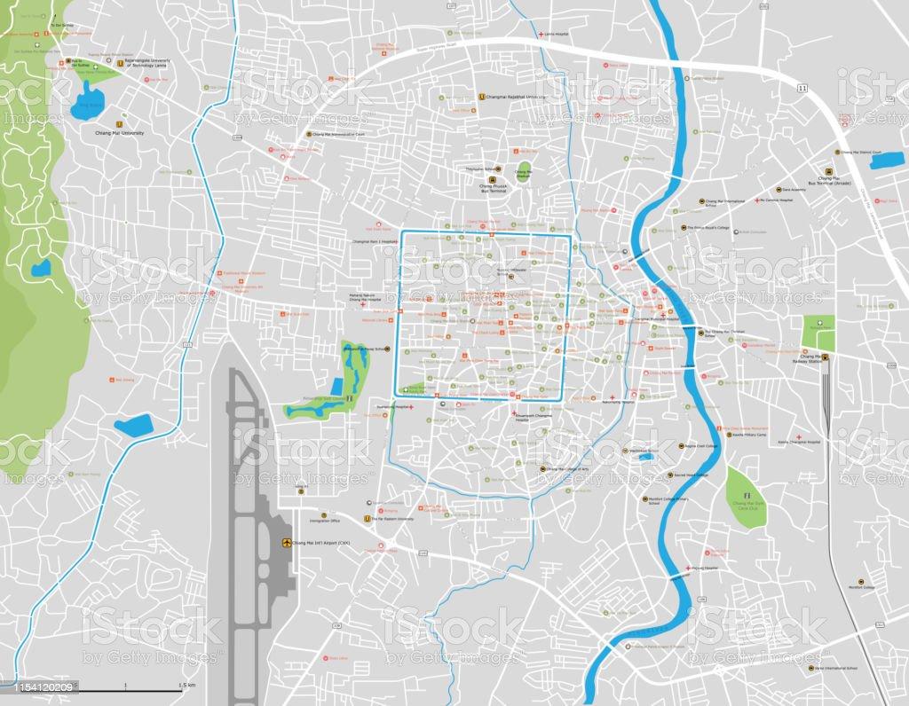 Mapa De Chiang Mai.Ilustracion De Mapa Vectorial De La Ciudad De Chiang Mai Y