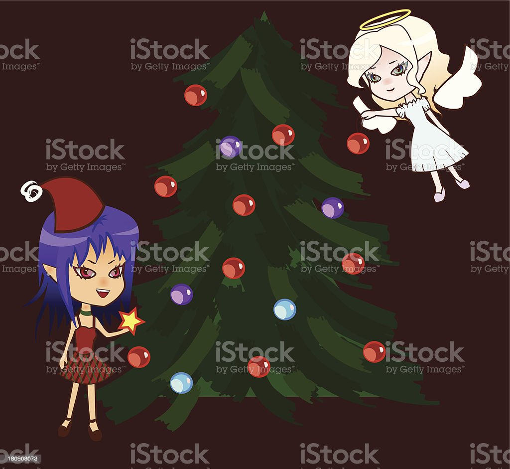 Chibi angel and demon with xmas tree vector art illustration