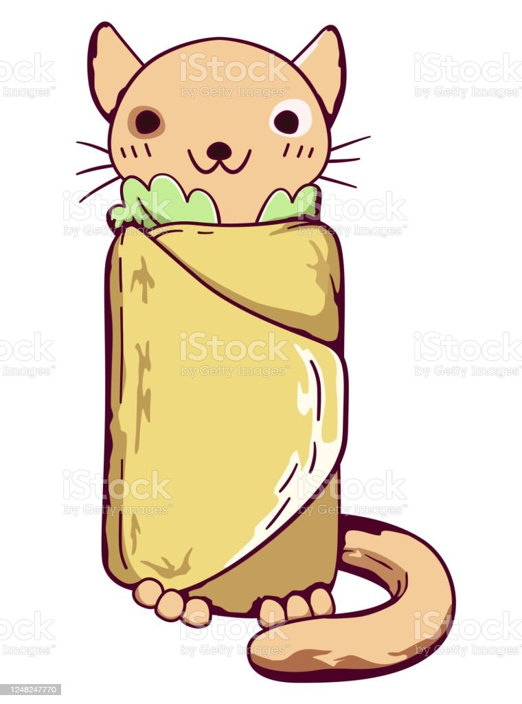 Chibi Cat Wrapped In Tortilla Stock Illustration Download Image Now Istock