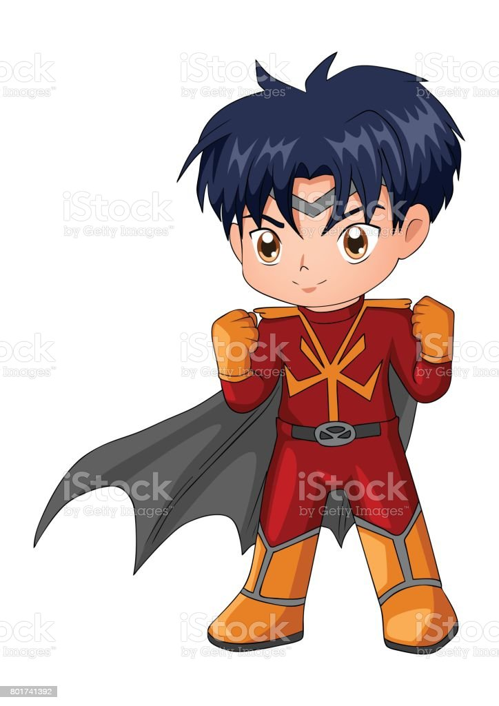 Chibi style illustration of a superhero vector art illustration