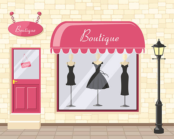 schicke boutique-inkl. jpeg - modeboutique stock-grafiken, -clipart, -cartoons und -symbole
