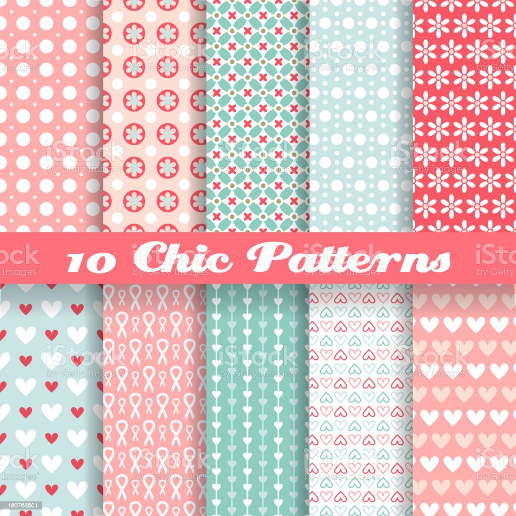 Chic different vector seamless patterns (tiling). vector art illustration