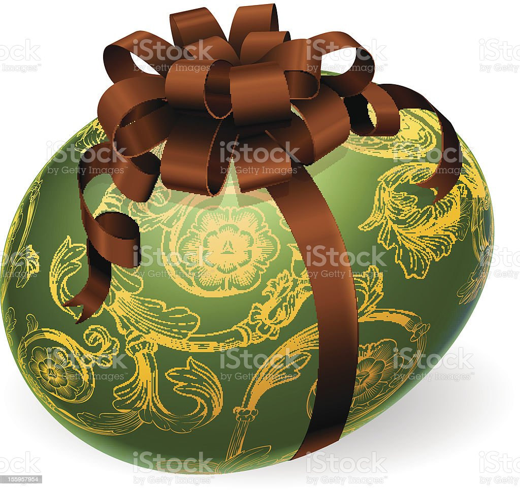 Chic Easter Egg With golden patterns royalty-free stock vector art