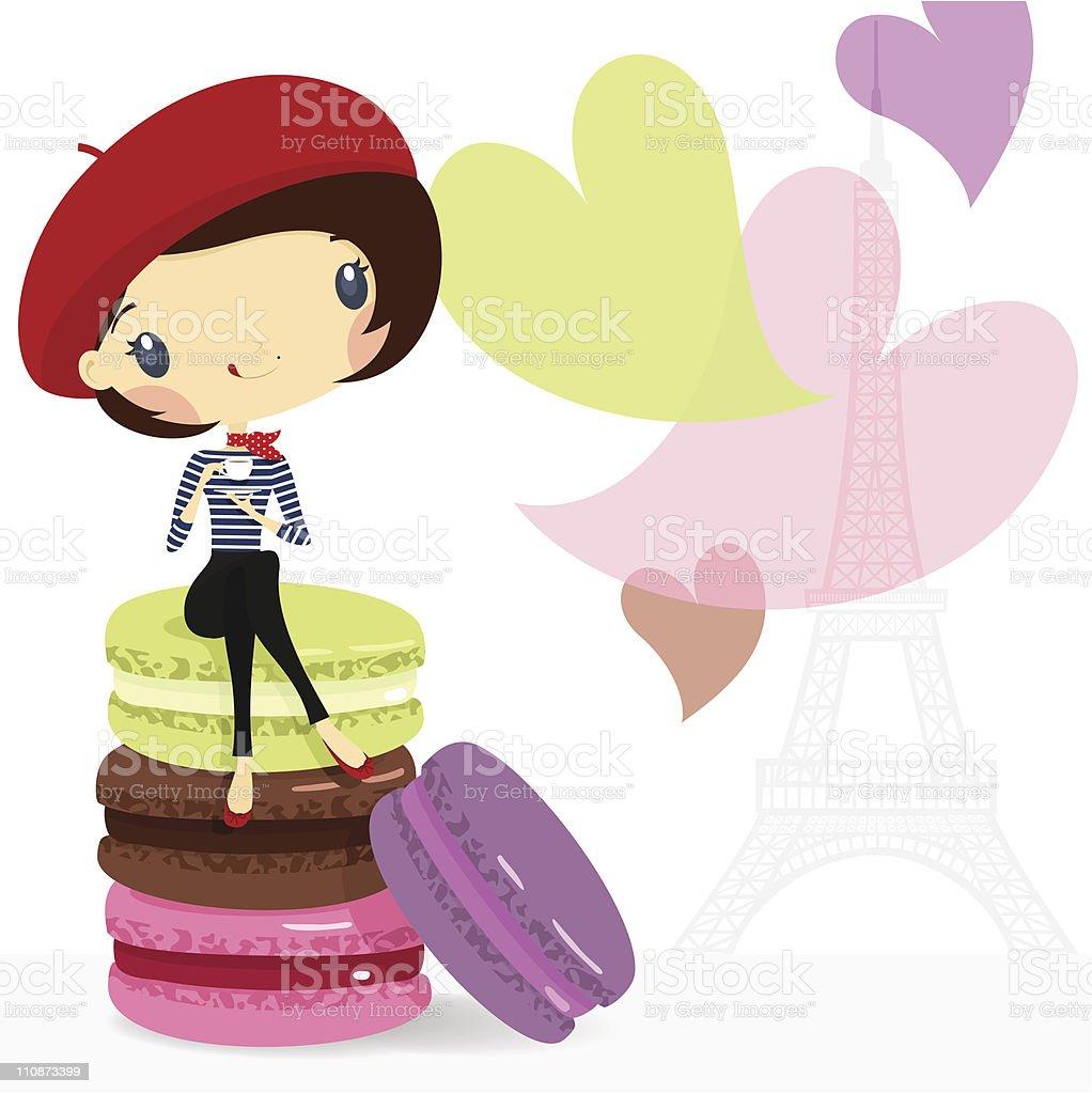 Chic girl. Love Paris, coffee & macarons. illustration vector cartoon royalty-free stock vector art