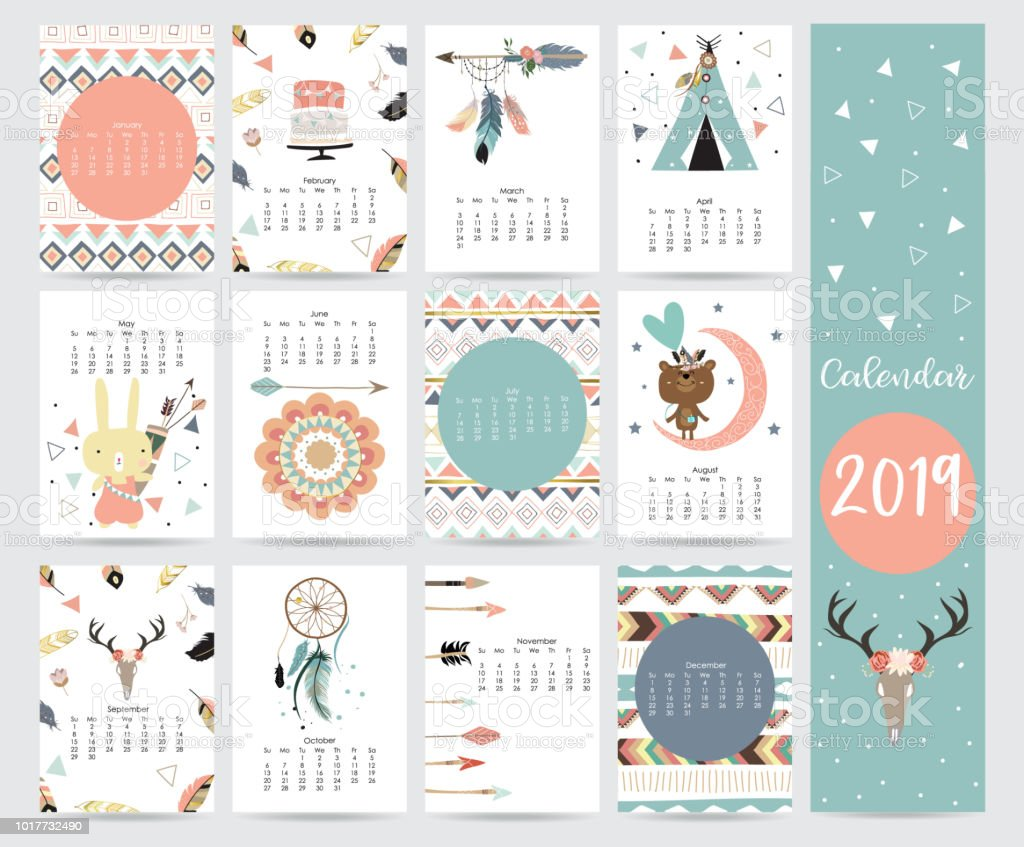 Chic Monthly Calendar 2019 With