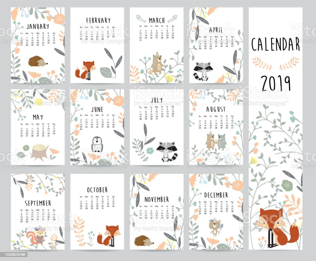 Calendario mensual chic 2019 con ardilla, zorro, oso, skunk, puerco espín, pingüino y salvaje - ilustración de arte vectorial