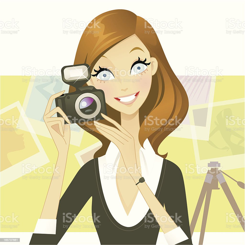 Chic Photographer vector art illustration