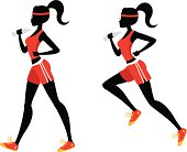 A female runner walking and sprinting holding a water bottle.